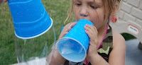 Giant bubbles: Poke a hole in the bottom of a plastic cup or cut off the bottom of a water bottle. Dip in bubble solution. Blow!