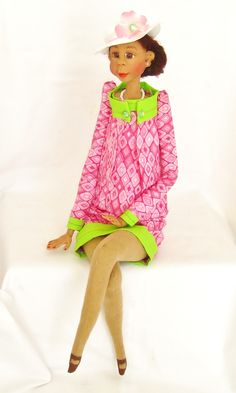 Ethnic Handmade Art Doll dressed in pink and green