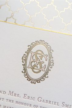 One of our most recent creations – a perfectly vintage foil and letterpress hand-drawn monogram for Elizabeth and Stephen! It looks soft and romantic paired with a gold foil envelope liner and gold beveled edges! Get an estimate for yours now!  |  Bell'INVITO Couture
