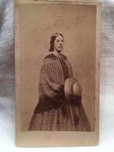 Antique 1800s Civil War era CDV Photo Beautiful Woman Hat Id'd Mary Ann Day