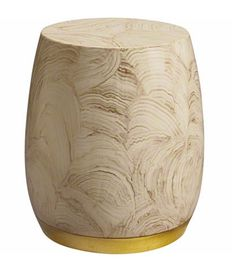 The Bauble Drum is a small drum table that gleams with an organic hand-painted pattern, inspired by natural quartz & minerals.