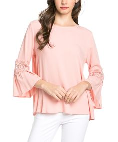 Love this Mittoshop Pink Lace-Accent Bell-Sleeve Top by Mittoshop on #zulily! #zulilyfinds