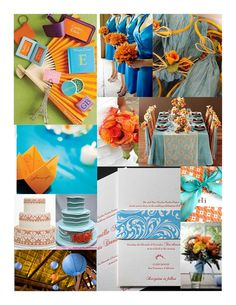 blue and orange inspiration board