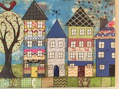 House village mixed media houses by heartfeltByRobin on Etsy