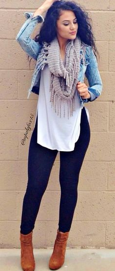 #summer #outfits  Denim Jacket   Grey Fringe Scarf   White Top   Black Skinny Jeans   Brown Booties