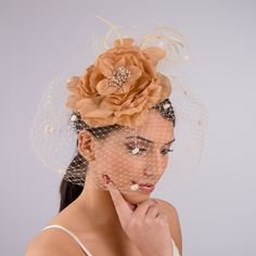 Tan Silver Flower Veil Comb Fascinator_ by KaKyCo| sye.com