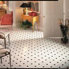 12 In X Diamond Jubilee Black White Residential L And Stick Vinyl Tile Flooring 45 Sq Ft Case High Gloss