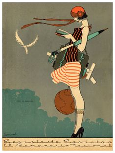 1920's illustration - true traveler ready for anything everything. Harris Sturdevant is searching for a rich young American tourist like this gal, although Pip sounds like she is much more wild.
