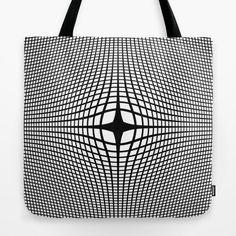Black On White Convex Tote Bag by Moonshine Paradise #society6 #blackandwhite #convex #opticalillusion #totebag