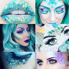 Mermaid costume halloween kit complete crystal makeup set includes gems, green and red holographic glitter, strong glue, face paints etc - Halloween Makeup Halloween Makeup Kits, Mermaid Halloween Costumes, Maquillage Halloween, Halloween Kostüm, Mermaid Costume Makeup, Amazing Halloween Costumes, Women Halloween, Scary Mermaid, Mermaid Make Up