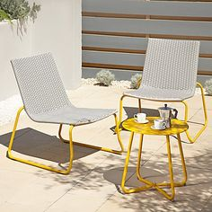 Ventura 3 Piece Bistro - Grey and Yellow Patio Chairs, Outdoor Chairs, Outdoor Decor, Garden Furniture, Outdoor Furniture, Pallet Chair, Victorian Terrace, Bistro Set, Garden Ideas