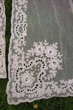 Antique Lace Curtains | Gorgeous antique net lace curtains with floral trim - victorian lace ...