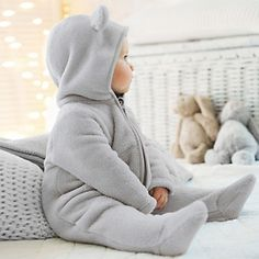 Baby Boys Fleece Romper with Ears - Baby Sleepwear | The White Company