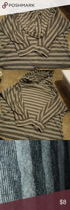 Grey and Black Striped Hooded Shirt Perfect condition, except the tags are cut off. No holes, rips, etc. Bought this a few years ago at jcpenney. Tops Sweatshirts & Hoodies