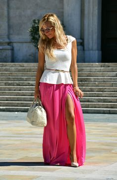 Choies maxi skirt with split, cream Zara pumps, peplum top and Furla bag