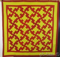 "Radiant Glows! 1880s PA Drunkards Path Antique QUILT Red Yellow 82"" x 81"""