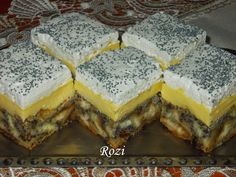 Hungarian Desserts, Hungarian Cake, Hungarian Recipes, My Recipes, Cookie Recipes, Poppy Cake, Yummy Food, Tasty, Guam