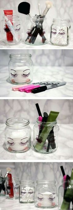DIY MAKEUP CRAFTS DIY Sharpie Make Up Storage Jars. These sharpie jars look super cute in their simplicity when place in your bathroom or vanity. Super easy, fun and quick to make in several minutes. Diy Makeup Organizer, Diy Makeup Storage, Make Up Storage, Makeup Organization, Diy Storage, Storage Ideas, Storage Jars, Storage Organizers, Bathroom Organization