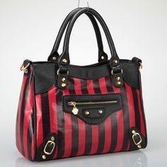 Racy Red 37 99 With Black Stripes Faux Leather Standard Handbag Size Featuring A