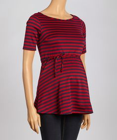 Love this Mom & Co. Red & Navy Stripe Maternity Top - Women by Mom & Co. on #zulily! #zulilyfinds