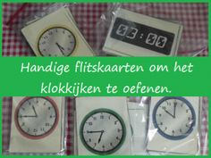 Handige flitskaarten om het klokkijken te oefenen. Back 2 School, Pre School, Creative Writing Ideas, Clock For Kids, Busy Boxes, School Hacks, School Ideas, Math Stations, Telling Time