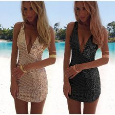 1557c934 New Women's Sexy Deep V-Neck Backless Sleeveless Sequins Dress Slim Fitting  Bodycon Cocktail Party Mini Dresses