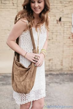 Festival Style | Crochet Dress | Boho Brown Bag | Nude Wedges