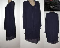 JONES NEW YORK Mock 2-piece Dress & Jacket - Chiffon Silk - Violet Purple10 #JonesNewYorkDress #Mock2pcjacketdress #Dressy