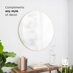 Umbra Hubba Wall Mirror | Shop Modern Round Mirrors Large Round Wall Mirror, Round Mirrors, Mirror Shop, Beautiful Mirrors, Wall Mounted Mirror, Bathroom Wall Decor, Home Decor Outlet, Things That Bounce, Brass