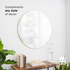 Umbra Hubba Wall Mirror | Shop Modern Round Mirrors Large Round Wall Mirror, Round Mirrors, Entryway Mirror, Mirror Shop, Modern Frames, Beautiful Mirrors, Bathroom Wall Decor, Metal Walls, Things That Bounce