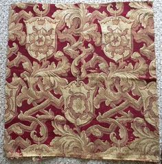 Unusual Antique French Wool Silk Brocade Crest 19thc by RuinsCa, $95.00