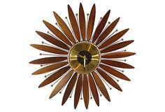 Teak Sunburst Clock on OneKingsLane.com