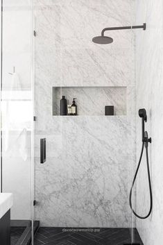 Unbelievable An Affordable Black and White and Modern Home Decor Renovation: Marble Shower  The post  An Affordable Black and White and Modern Home Decor Renovation: Marble Shower…  appeared first on  Decor .