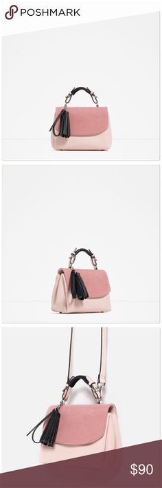 e6ef28abed95 HP 🆕 Zara pink leather satchel purse Pink leather satchel purse. Comes  with removable