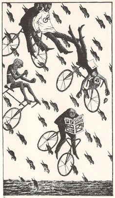 How the last scene of ET could have turned out (Edward Gorey) Edward Gorey, Monet, Bike Illustration, Cycling Art, Dark Art, Portraits, Cool Art, Drawings, Artwork