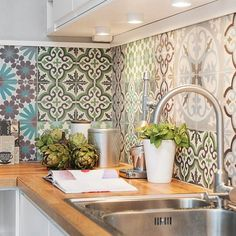 I love these tiles! They remind me of succulent colours for some reason! #Interiors #Kitchen