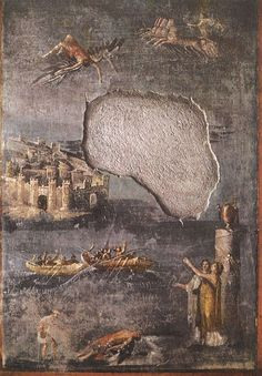The Fall of Icarus. Fresco from Pompeii (the House of the Priest Amandus, I.7.7). 40—79 A.D. Pompeii, The House of the Priest Amandus.: