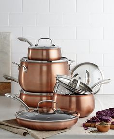 Affiliate pin I am LIVING for rose gold and copper kitchen decor. Belgique Copper Translucent Cookware Set, Created for Macy's Kitchen Utensils, Kitchen Tools, Kitchen Gadgets, Kitchen Appliances, Copper Kitchen Decor, Kitchens, Teal Kitchen, Copper Decor, Rustic Kitchen
