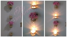 DECORAÇÃO COM POTES DE VIDRO | Faça você mesmo - Pendente de velas e flores! - YouTube