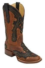 Corral Women's Saltillo Golden & Black Overlay Cowgirl Boots