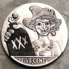 Steve Cox - The Moonshiner Pewter Art, Hobo Nickel, Coin Art, Antique Coins, World Coins, Coin Collecting, Metal Art, Carving, Banks
