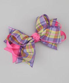 Nantucket Girl Summer Plaid Bow Clip