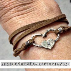 Personalized Horseshoe heart wrap bracelet  - specify initial