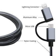 Amazon.co.jp: LOE(ロエ) Apple認証 (MFI. Made for iPhone取得) 高耐久ナイロン 2in1 ライトニング USBケーブル Lightning & microUSB ハイスピード チャージ for iPhone 6, iPad, タブレット, モバイルバッテリー (1m ブラック): 家電・カメラ