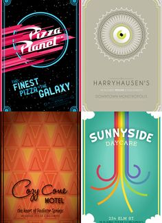 Disney Pixar Posters.  How cool are these!!!