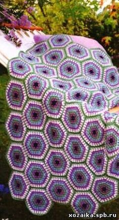 Colorful Hexagon Afghan free crochet graph pattern