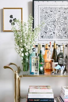 book and bar cart
