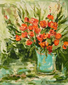 Orange Roses in Turquoise Vase. Signed 7 x 9 by sarahsamsart