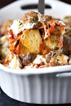 Layers of savory meatballs, creamy mozzarella cheese, and buttery garlic bread make this meatball sub casserole a perfect weeknight dinner.
