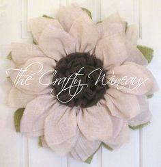 Bright White Flower Burlap Wreath, Sunflower, Spring Wreath, Summer Wreath, Customizable Wreath - pinned by pin4etsy.com